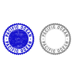 Grunge pacific ocean scratched stamps vector