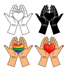 hands and heart icons - line colorful rainbow vector image
