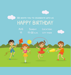 happy birthday invitation card with cute little vector image