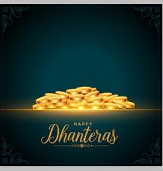 Happy dhanteras festival golden coins background vector