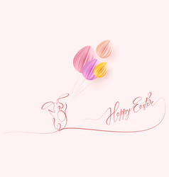 happy easter cute rabbit with air balloons vector image