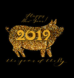 Happy new year 2019 funny card design vector