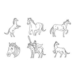 Horse line sign and symbol vector