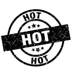 Hot round grunge black stamp vector