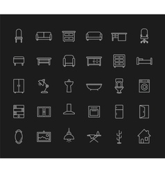 House furniture linear icons set Chalk vector image