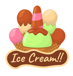 Ice cream concept and logo summer sandae label vector