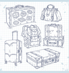 Icons set hand drawn suitcase bag and backpack vector