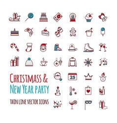 icons set - winter christmas holiday vector image