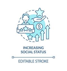Increasing social status blue concept icon vector