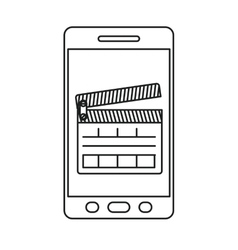 Isolated clapboard and smartphone design vector