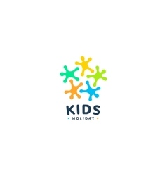 Isolated colorful kids silhouette logo vector