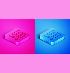 isometric line task list icon isolated on pink and vector image