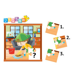 jigsaw puzzle pieces of boy cleaning floor vector image