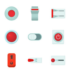 Kinds of buttons icons set cartoon style vector