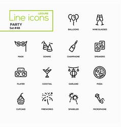 Leisure concept party - line design icons set vector