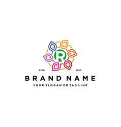 Letter r leaf colorful logo design and business vector