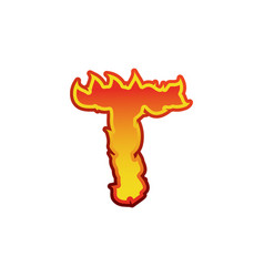 Letter t fire flames font lettering tattoo vector