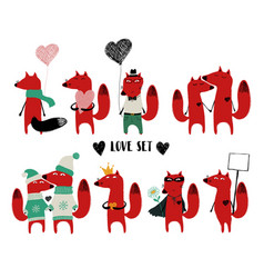 love set with single fox and couple vector image