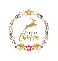 merry christmas deer elegant rustic flat vector image