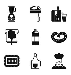 milk shake icons set simple style vector image