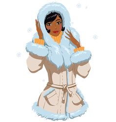 mulatta in winter clothes vector image vector image