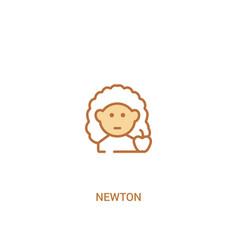 Newton concept 2 colored icon simple line element vector