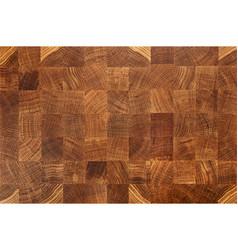 Oak wood butcher end grain chopping block board vector