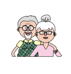 Old couple with hairstyle and glasses vector