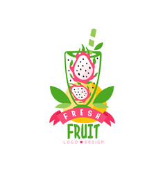 original logo with halves of ripe pitaya in glass vector image