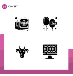 Pack 4 creative solid glyphs card adornment vector