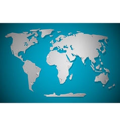 Paper Cut World Map with Bent Corners on blue vector
