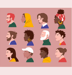 people different cultures profile faces vector image