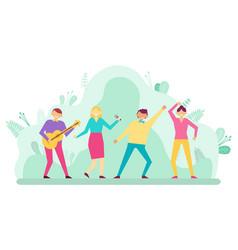 People having fun dancing and singing man woman vector