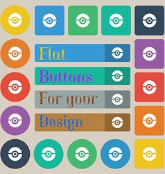 Pokeball icon sign Set of twenty colored flat vector
