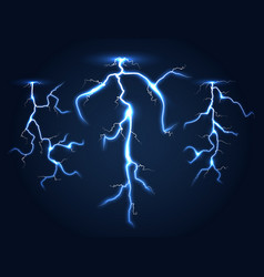 realistic lightnings set dark night sky vector image