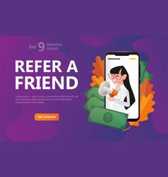 refer a friend girl on scriin smartphone scream vector image