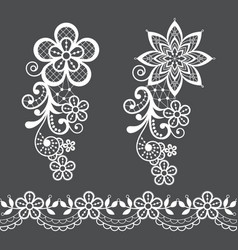 retro floral lace half wreath single pattern vector image