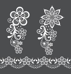 retro floral lace half wreath single pattern vector image