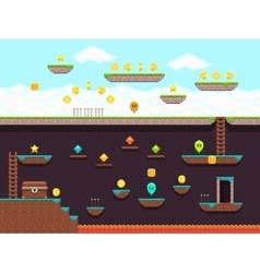 Retro platformer video game gaming screen vector