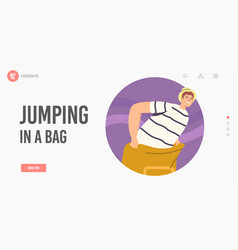 Sack race landing page template happy young man vector