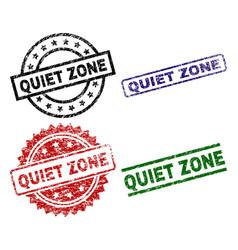 Scratched textured quiet zone seal stamps vector