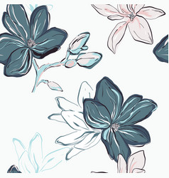 Seamless blue navy floral pattern tender blue vector