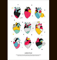 Set human hearts in memphis style vector