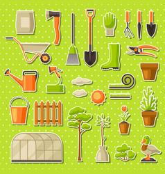 Set of garden tools and items season gardening vector