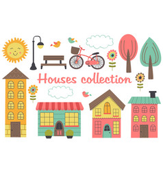 set of isolated houses and other elements part 2 vector image