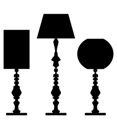 Set of lamp silhouettes vector