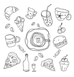Set of simple sketches on the theme of the cafe vector