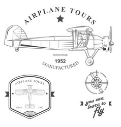 set of vintage airplane labels badges and design vector image