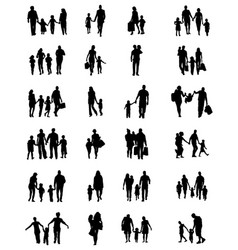 silhouettes of families in walk vector image