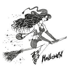 Sorceress on a broom elegant fashionable witch vector